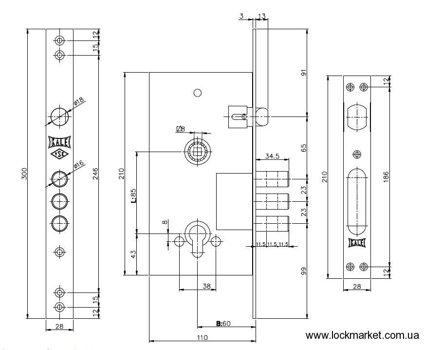 Схема замка KALE 252R